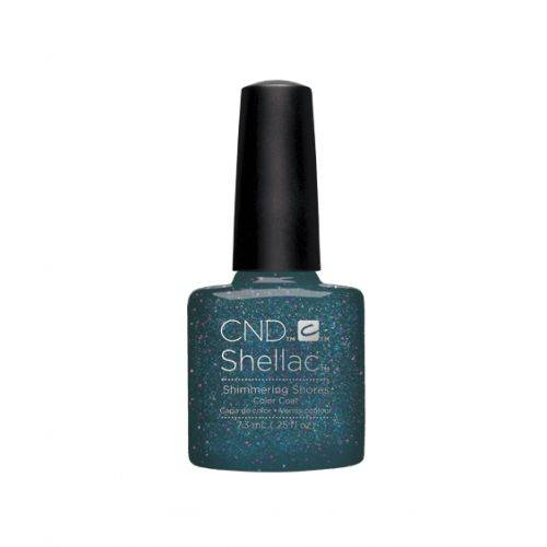Shellac Shimmering Shores 7,3 ml : bleu gala pailleté